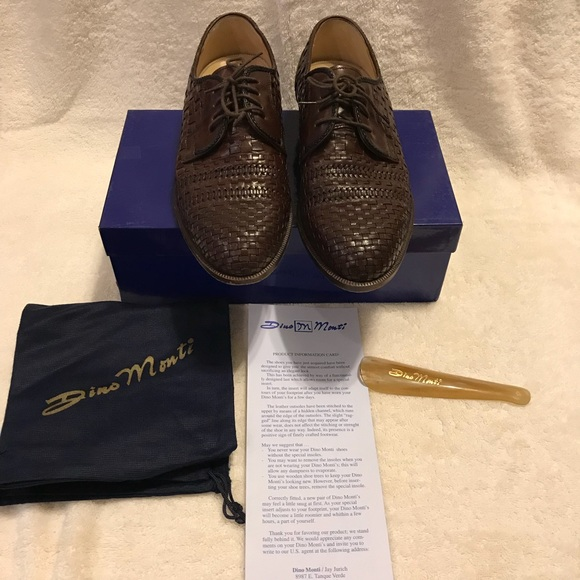 Brown Basket Weave Leather Loafers Dino Monti Size 9D